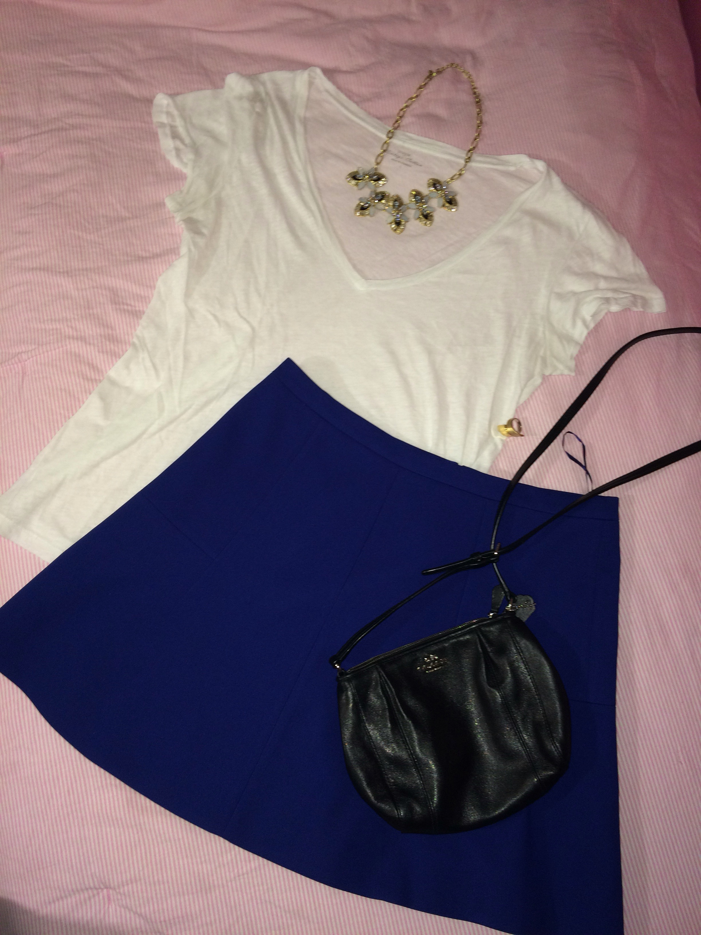 white t-shirt style idea with blue  skirt