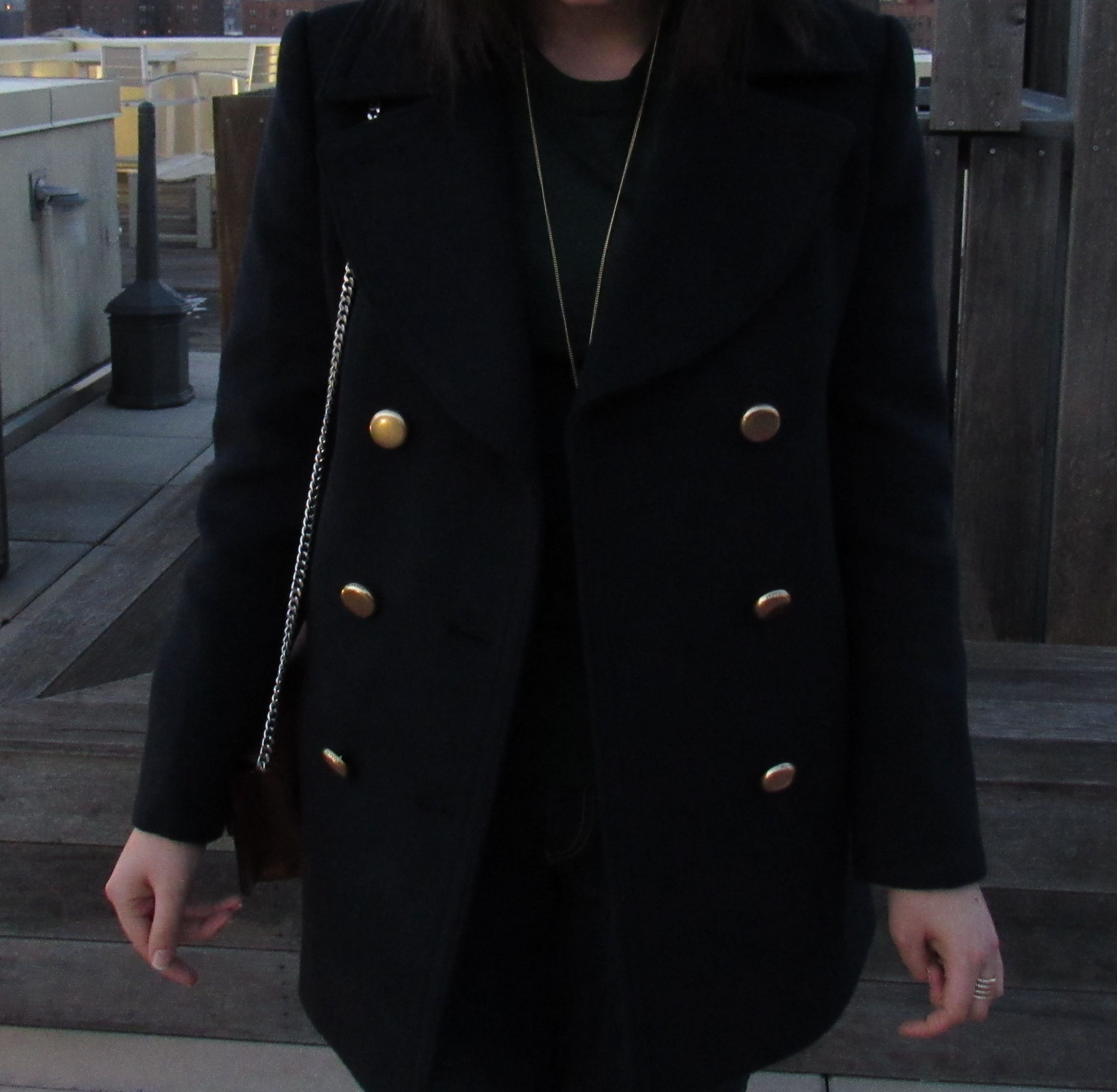 Coach navy and gold peacoat on StylisticReaction