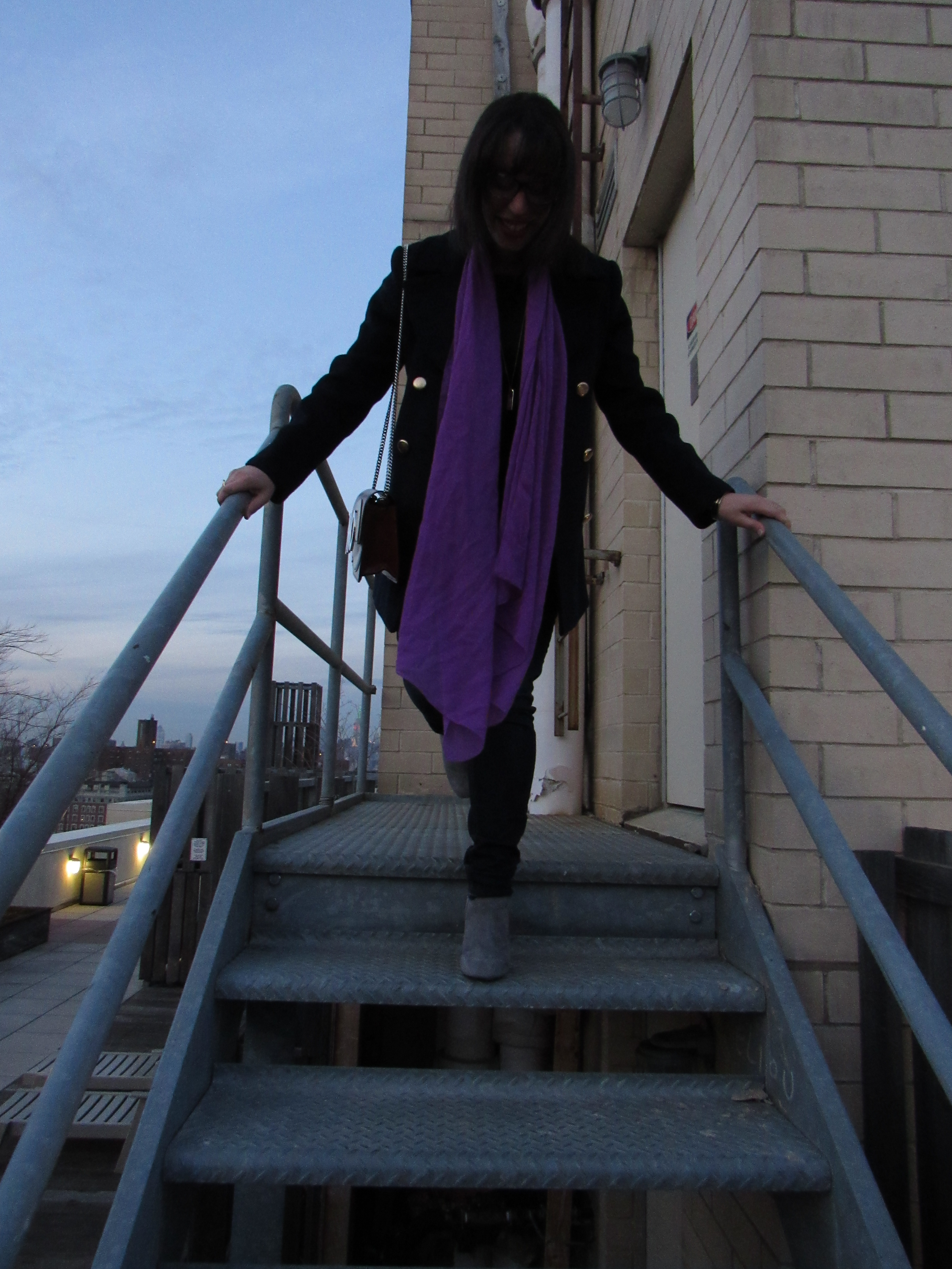 Rooftop shot with purple J.Crew scarf on StylisticReaction